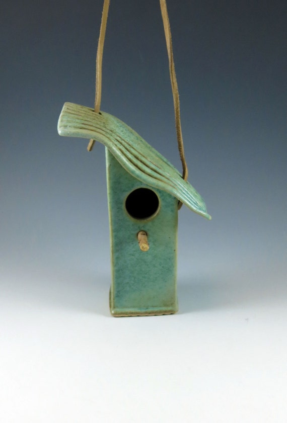 Ceramic Bird House -  Weathered Bronze Green - Tin Pan Alley - Angle Roof - 285