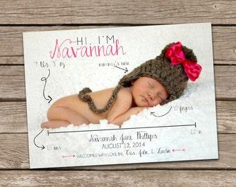 Birth Announcement : Hi Savannah Baby Girl Custom Photo Birth Announcement