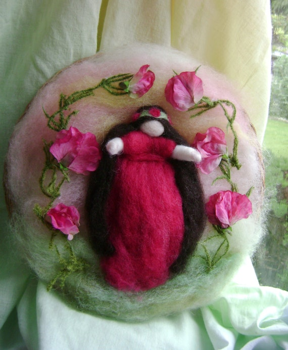 Rose Red  - Beautiful Wool   Wall Hanging  -  Needle felted in  hand dyed New Zealand  wool