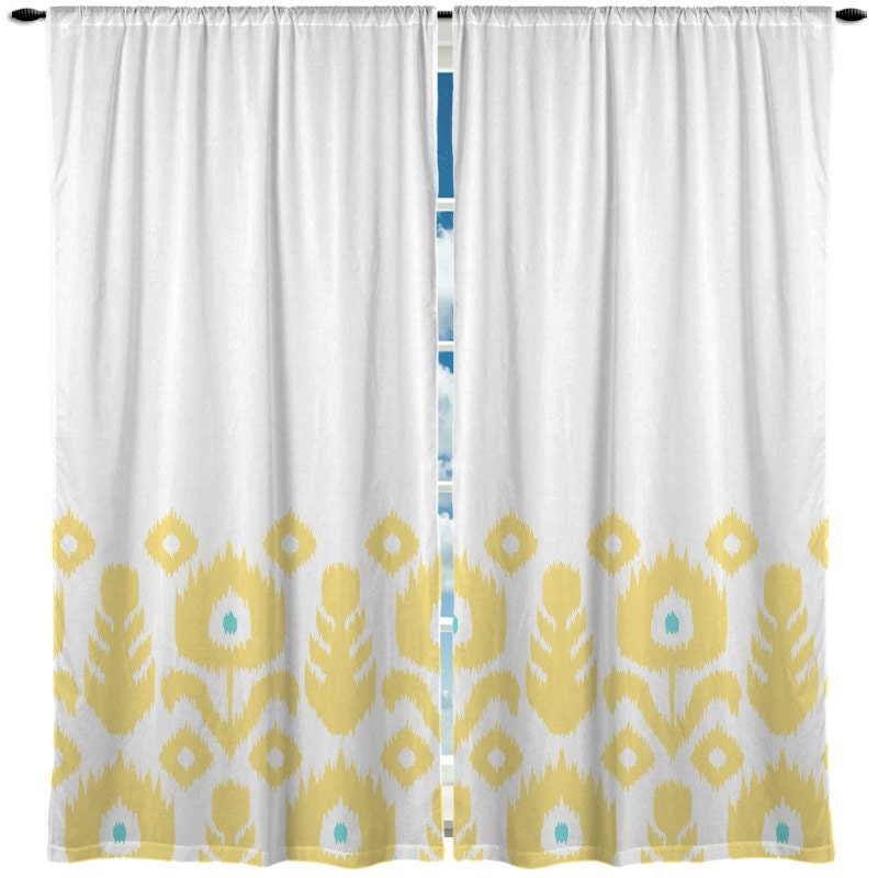 Custom window curtain yellow ikat flowers with turquoise - Turquoise and yellow curtains ...