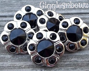 Sale Sale- RHiNeSToNe FLoWeR BuTToNS- Set of 5 BLaCK Rhinestone Buttons Flower Centers Headband Supplies 18mm