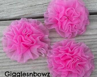 Set of 3 DaRK PiNK Chiffon Rosettes Puff Flowers- 3 inch size