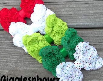 Set of FiVE CHRiSTMaS CoLLeCTiON PeTiTE Size Shabby ROSE Mesh BoWS- Mini Size 3 inch