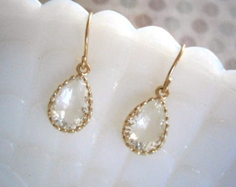Petite Clear Crystal Earrings, Gold Earrings, Bridesmaid Earrings, Best Friend Birthday, Jewelry Under 20, Gift For Her