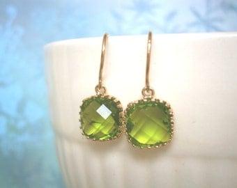 Dark Apple Green Earrings, Green Earrings, Petite Earrings, Gold Earrings, Wife Gift, Mom, Mother, Girlfriend