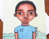 African American/Afro Caribbean Greeting Card 'Little Man'