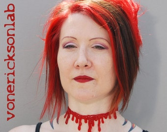 Spooky Necklace-Halloween Jewelry - Bloody Drip   Necklace - Vampire choker  necklace Extra Drippy- Bright  Red Blood