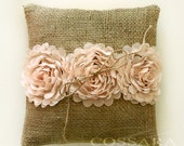 Rustic / Shabby Chic Burlap Ring Pillow with Ciffon Flower Embellishment / Barrier pillow / DIY Weddings / Vintage