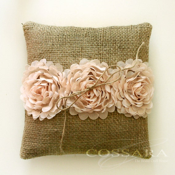 Shabby Chic Pillows Diy : Rustic / Shabby Chic Burlap Ring Pillow with Ciffon by Cossara