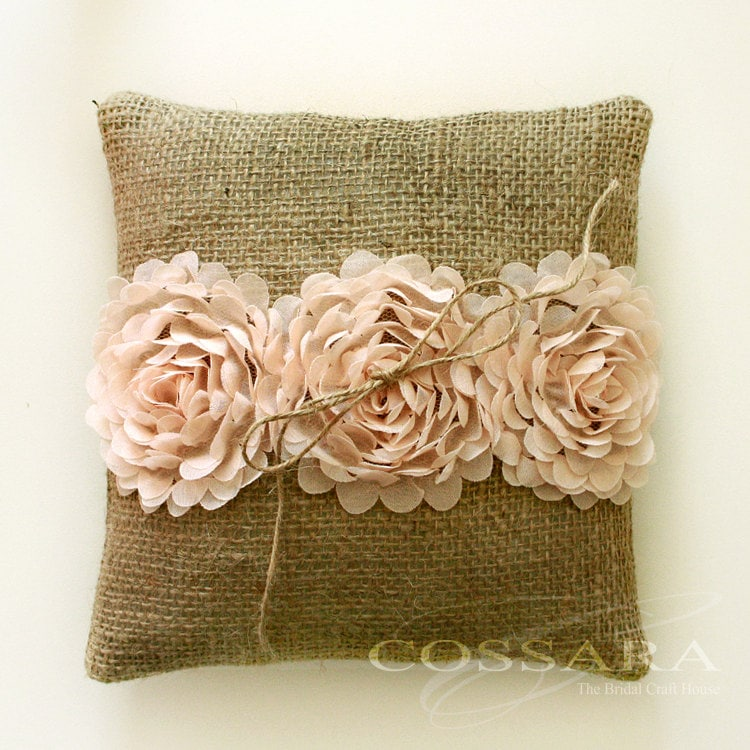 Shabby Chic Burlap Pillows : Rustic / Shabby Chic Burlap Ring Pillow with Ciffon by Cossara