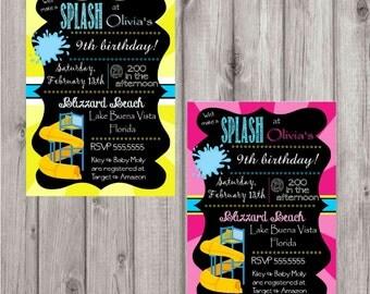 Digital Water Park Chalkboard Style Birthday Party Invitation DIY Printable