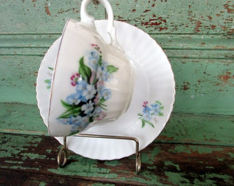 Vintage Teacup Tea Cup and Saucer flower Blue Forget Me Not