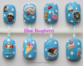 Candy Fake Nails, Kawaii Nail Art, Short Fake Nail, Sweet Shoppe, Japanese Nail Art, Fake Nails in Yellow or Blue, Short Fake Nails, Girly