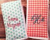 Personalized Burp Cloths - Set of 2 - Monogrammed Burp Cloths - You Choose your Fabric - Baby Shower Gift - by Pocketbaby