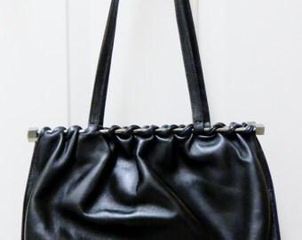 Black Vintage Leather Handbag by BELTRAMI, Italian Black Leather Handbag, Designer Beltrami Handbag