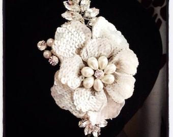 Bridal flower headband with rhinestone leaves wedding vintage
