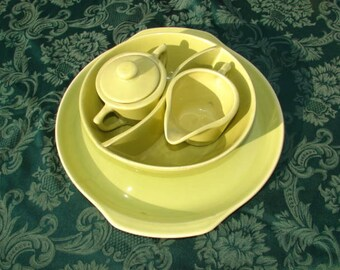 ON SALE NOW Bauer Monterey Moderne Chartreuse Five Piece Set 1940's