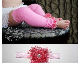 Pink Baby Leg Warmers and Headband Set