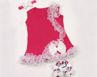 Pink and White Baby Dress and Shoes Sale Free Headband