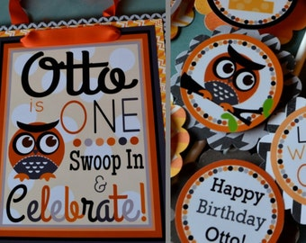 Owl Birthday Party Decorations Black Orange Fully Assembled