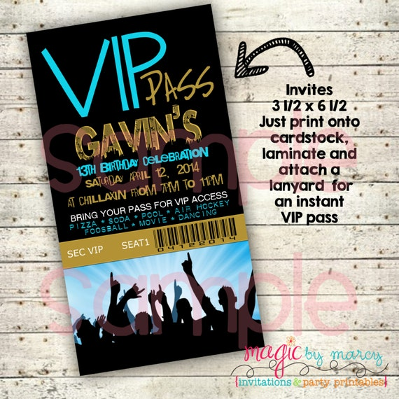 Items Similar To Birthday Party Invitations Printable Digital VIP Pass