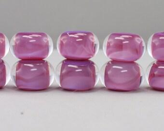 Secret pink  encased with clear - 10 handmade lampwork beads