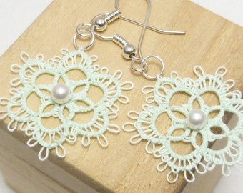 Tatted Lace Earrings in mint  -Fleur with Swarovski crystal pearls
