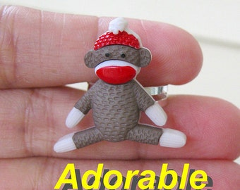 Sock Monkey adjustable RING adorable mono cute animal kawaii collectible for birthday gift teen girls women collector