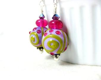 Pink Purple Yellow Glass Earrings, Colorful Jewelry, Lampwork Jewelry, Pastel Earrings, Funky Earrings, Everyday Earrings - Sorbet