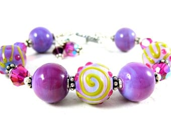 Purple & Pink Lampwork Bracelet, Chunky Bracelet, Statement Jewelry, Fuchsia Lavender Glass Bracelet, Everyday Jewelry Art Glass - Sorbet