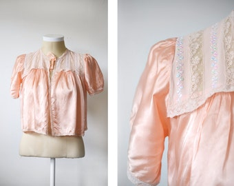 1940s Pink Satin Bed Jacket - S/M