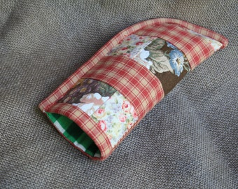 eyeglass case  quilted lined cotton