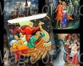 Russian Fairy Tales in Miniatures   - 63  1  Inch Square   JPG images - Digital  Collage Sheet