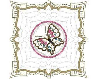 Machine Embroidery Design- Butterfly 01-Quilt Block-3 sizes included!