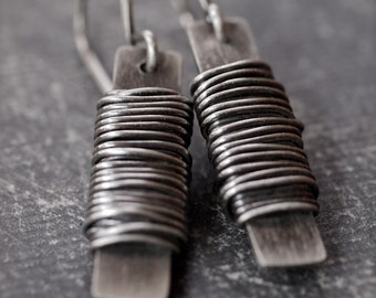 Industrial and funky long rectangle silver wire wrapped earrings