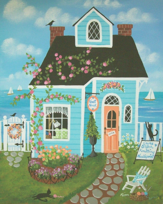 Knot Nook Stitchery Shop Folk Art Print