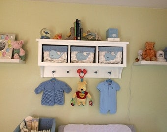 Country Shelf with Cubbies for Bath Or Entryway With Shaker Pegs Country Style 2 Colors