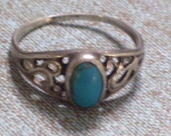 Vintage Art Deco Style Turquoise 925 Sterling Silver Filigree Ring Size 7.5