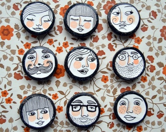 Friendly Faces Hand-Drawn Magnets / Set of 3