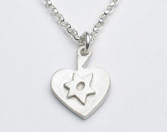 Heart Necklace with Star of David - Sterling Silver Judaica