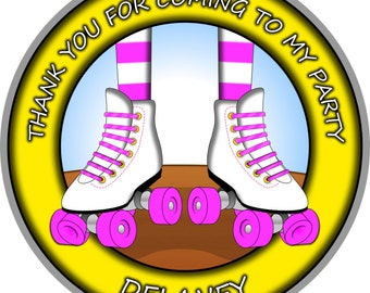Roller Skating Stickers. Roller Skating Party. Rollerblade Skate Birthday. Skating Party Round Stickers. Roller Rink Skate Stickers. Custom