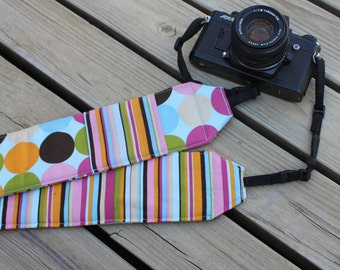 Monogramming included Wide Camera Strap for DSL camera Blue Multi Polka Dot with Stripe Reverse and Lens Cap Pocket