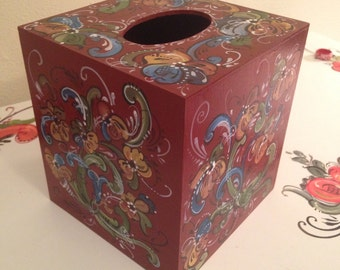 Norwegian rosemaled wooden tissue box cover