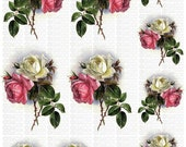 Instant Digital Download Vintage Pink White DeLongpre Roses Flowers Transparent PNG and Instructions to make Waterslide Decals too! ECS