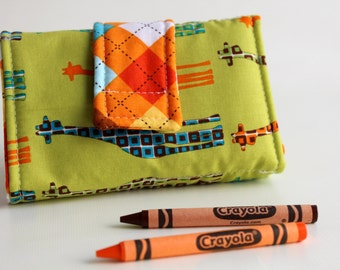 Crayon Wallet - Giraffe Parade Edition - A Montessori and Waldorf Inspired Travel Toy for  Self Guided Art