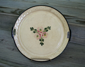 Vintage 1940s Maruhon Ware Serving Plate / Pink and Green Floral