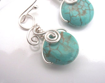 Turquoise and Silver Earrings Wire Wrapped in Sterling