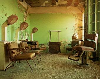 Abandoned Building Photography, 8x12 Print, Hair Salon Decor, Detroit Art, Urban Exploration, Architecture Photography, Hair Salon, Green