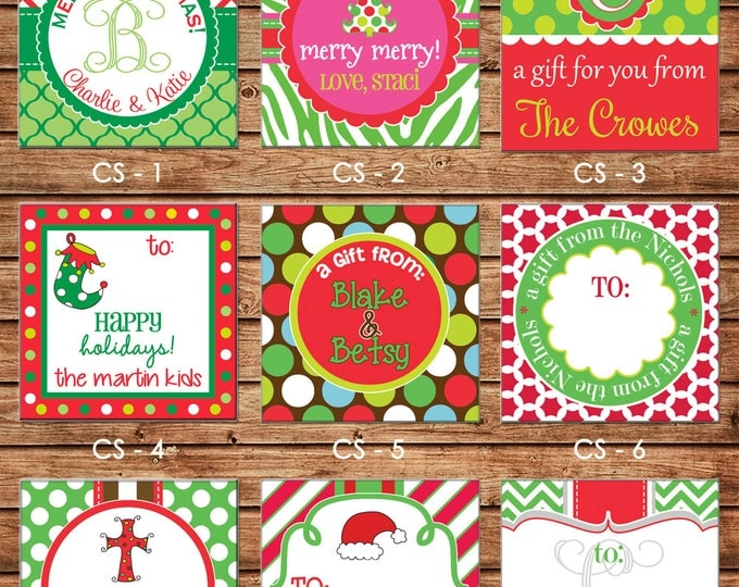 24 Square Personalized Christmas / Holiday Enclosure Cards or Gift Stickers - Choose ONE DESIGN