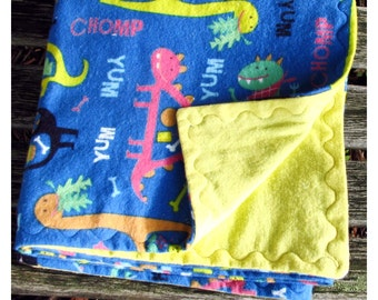 Large Flannel Reversable Baby Blanket Dinosaurs on Yellow